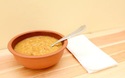 Lentil and vegetable soup ready to eat Stock Images