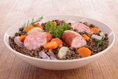 Lentil with vegetables and meat Royalty Free Stock Photo