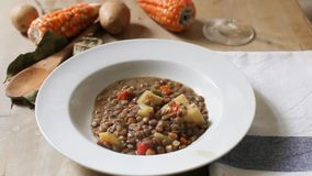 Lentil and vegetables stock footage