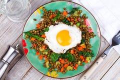 Lentilhas com ovo, espinafres e cenoura Imagens de Stock Royalty Free