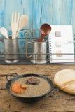 Lentilhas com salsicha e chouriço de sangue Imagem de Stock