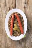 Lentilhas e salsichas foto de stock