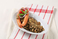 Lentilhas e salsichas de Viena foto de stock