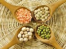 Lentilhas, feijões de mung e grãos-de-bico foto de stock