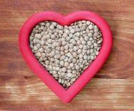 Lentilhas saudáveis do coração Fotografia de Stock