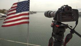 Lentille de caméra vidéo - exposition d'enregistrement dans la TV photographie stock libre de droits