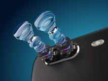 Lentille moderne de double structure de caméra de smartphone Nouvelles caractéristiques pour un concept de caméra de smartphone photos libres de droits