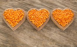 Lentille rouge crue - culinaris de lentille Image libre de droits