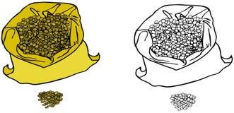 Lentilles dans un sac Image stock