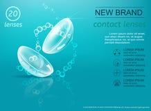 Lentilles de contact visuel sur le fond bleu avec des bulles illustration libre de droits
