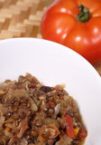Lentils. Vegetarian dish made from brown lentils and healthy garden fresh vegetables stock image