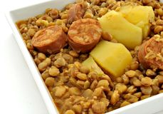 Lentils. With chorizo and potatoes served on a plate Stock Image