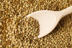 Lentils. Macro shoot of lentils texture with wooden spoon Stock Images