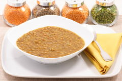 Lentils. Plate of delicious lentils gourmet cooked Stock Images
