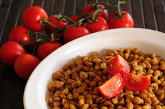 Lentils with cherry tomatoes Royalty Free Stock Images