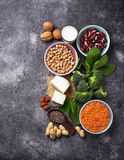 Lentils, chickpea, nuts, beans, spinach, tofu, broccoli and  chi Royalty Free Stock Photography
