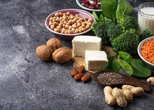 Lentils, chickpea, nuts, beans, spinach, tofu, broccoli and  chi Stock Photography