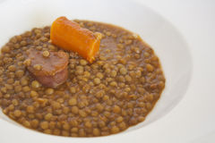 Lentils with chorizo Royalty Free Stock Photos