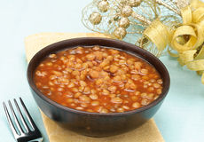 Lentils with christmas decoration Stock Photography