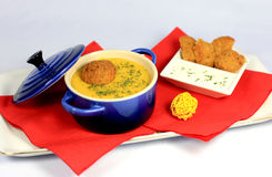 Lentils cream soup with falafel Royalty Free Stock Images