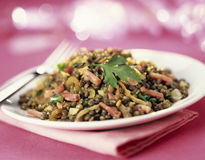 Lentils with diced bacon. Food, gastronomy, cuisine,cookery stock image