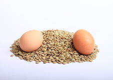 Lentils with eggs Stock Image