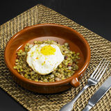 Lentils with fried egg Royalty Free Stock Image