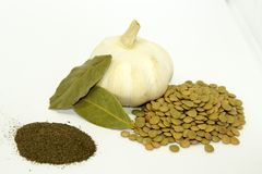 Lentils with garlic, bay leaves,black pepper on white background. stock photography