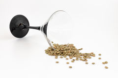 Lentils and glass Royalty Free Stock Photography