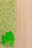 Lentils green on board on the left with parsley Stock Photos