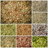 Lentils healthy food collage Stock Photo