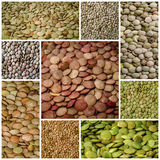 Lentils healthy food collage Royalty Free Stock Images