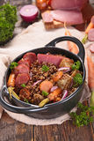Lentils and meats Stock Photos