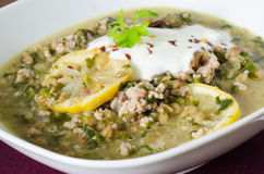 Lentils with mincemeat and lemon Stock Photo