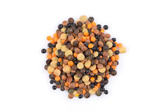 Lentils mix on a white background Stock Photo