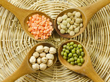 Lentils, mung beans and chickpeas Stock Photo