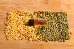 Lentils and oil Stock Photo