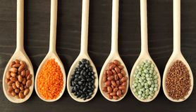 Lentils, peas and beans. Stock Photo