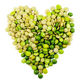 Lentils and peas forming a heart Stock Images