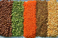 Lentils and peas Stock Photos