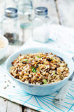 Lentils and rice with Crispy Onions and Parsley Stock Images