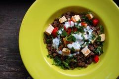 Lentils salad with grilled tofu Stock Photos