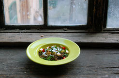 Lentils salad with grilled tofu Stock Photo
