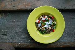 Lentils salad with grilled tofu Royalty Free Stock Photos