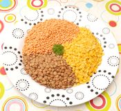 Lentils. Some lentils in different colours stock photo