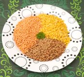 Lentils. Some lentils in different colours Stock Image