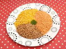 Lentils. Some lentils in yellow, orange and brown stock photos