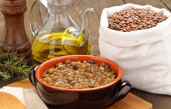 Lentils soup and lentils dried Stock Images