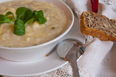 Lentils soup. Served with a piece of wholemeal bread Stock Images