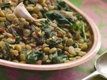 Lentils with spinach and Garlic Royalty Free Stock Photo